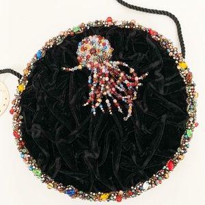 Mary Frances Round Circle Beaded Purse Black